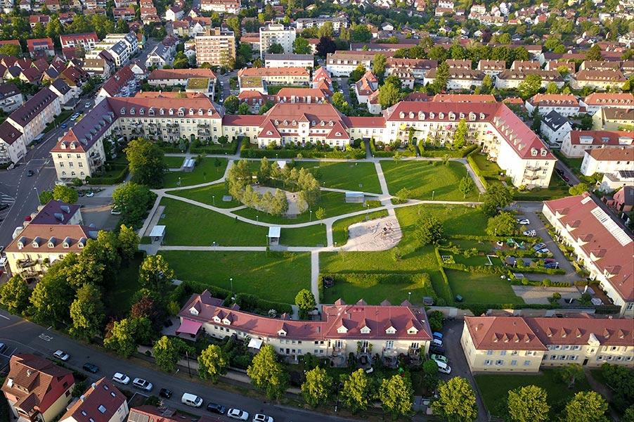 Luftbildaufnahme von Palmscher Park in Esslingen am Neckar